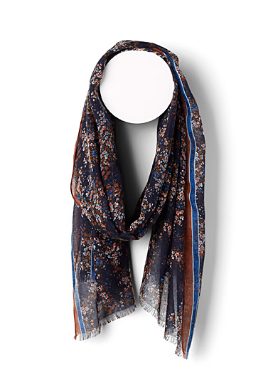 Fraas Patterned Blue Fine floral scarf for women