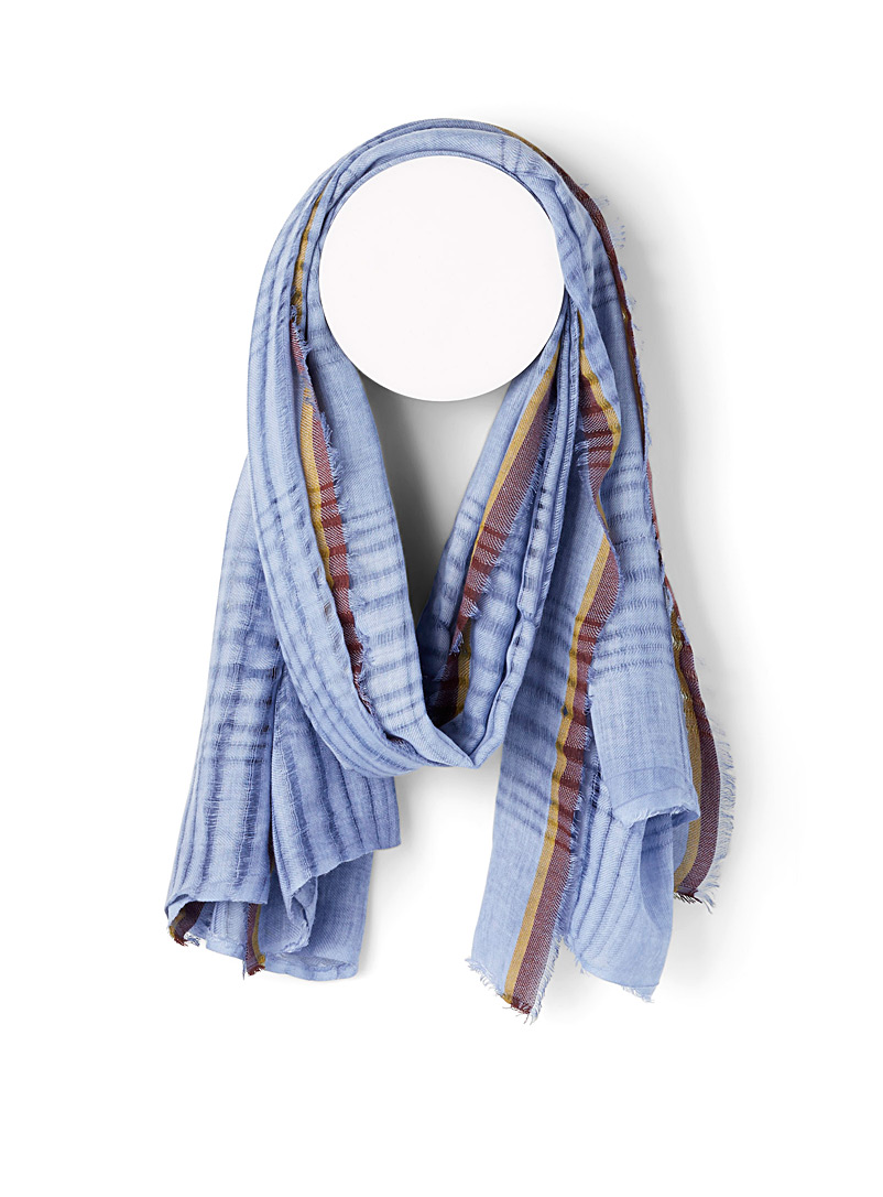 Fraas Assorted blue  Ultra fine tricolour scarf for women
