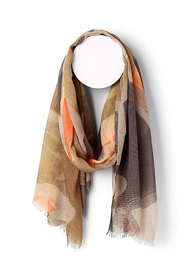 Fraas Patterned Brown Retro waves scarf for women