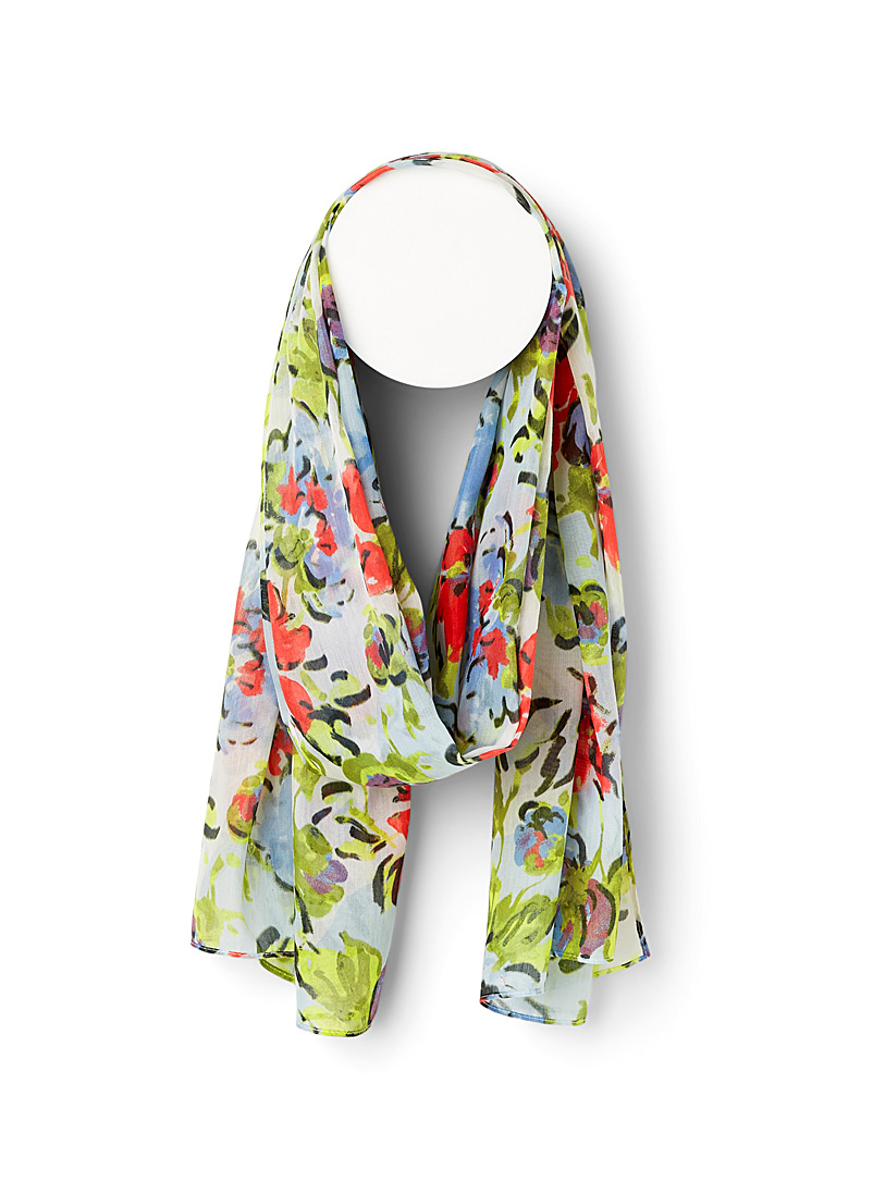 Fraas Assorted green  Botanical painting scarf for women