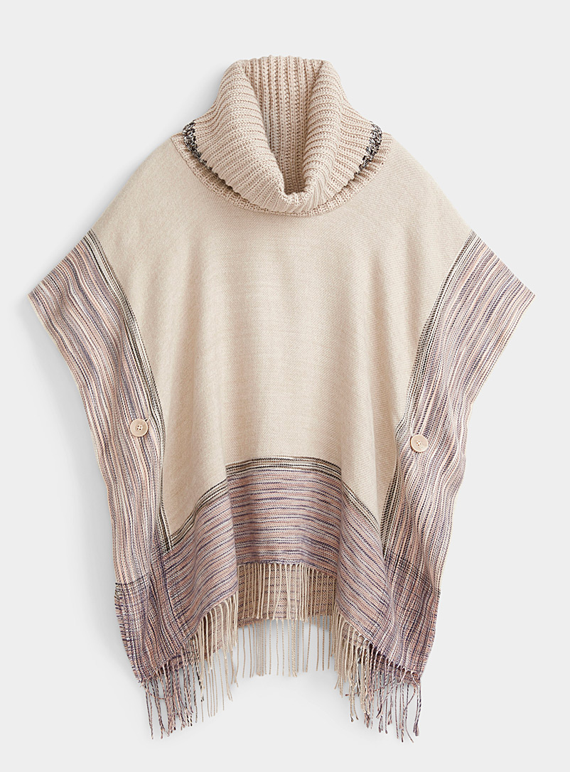 Simons Cream Beige Natural lounge poncho for women