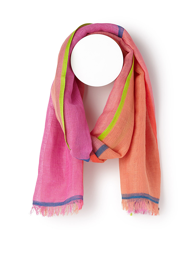 Linen blend colourful scarf - Light scarves - Patterned Red