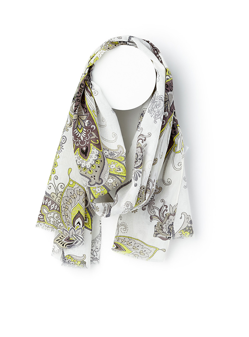Cotton paisley scarf - Light scarves - Patterned Green