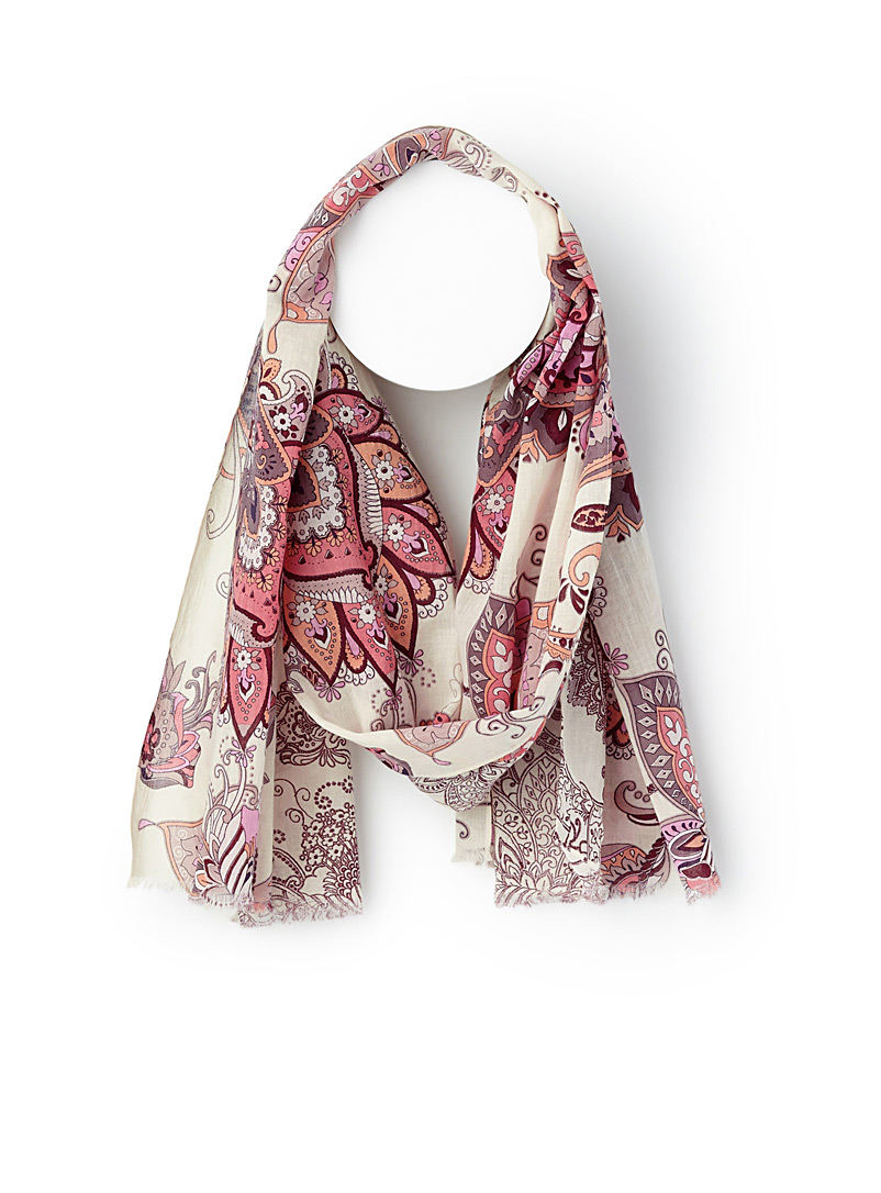 Cotton paisley scarf - Light scarves - Patterned Red