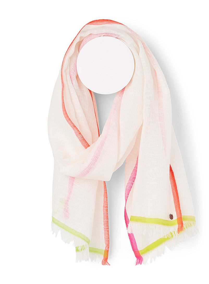Fraas White Neon-trim scarf for women