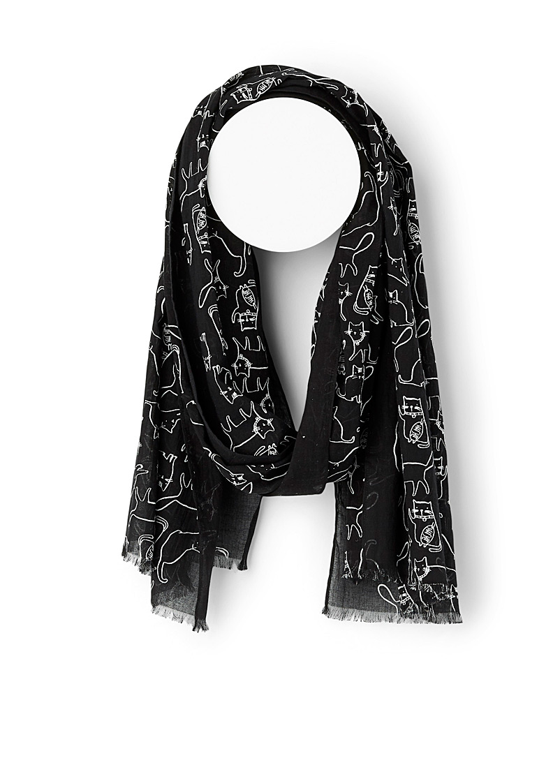 Fraas Patterned Black Divine feline scarf for women