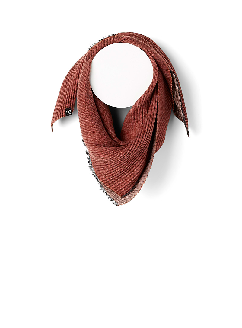 Fraas Rust Reversible accordion scarf for women