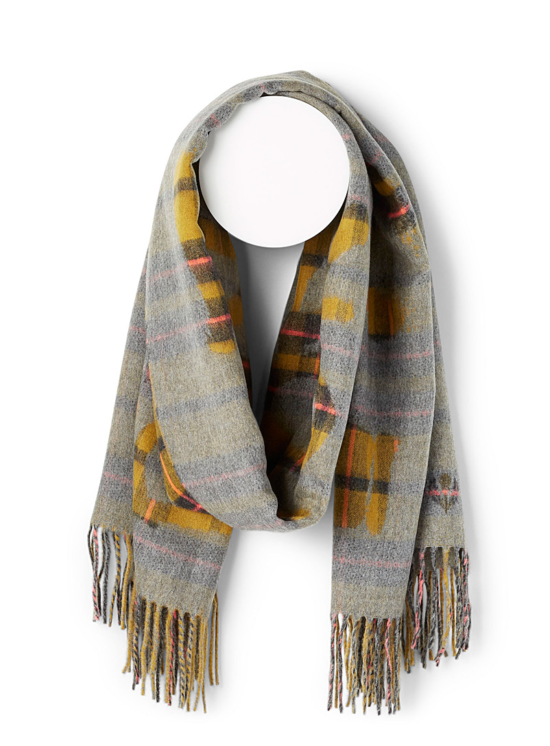 Fraas Assorted yellow  Royal tartan scarf for women