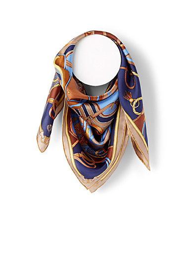 Fraas Patterned Blue Equestrian rope scarf for women