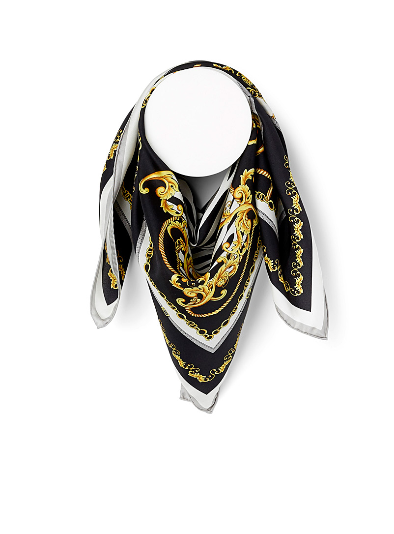 Fraas Patterned Black Chain zebra scarf for women