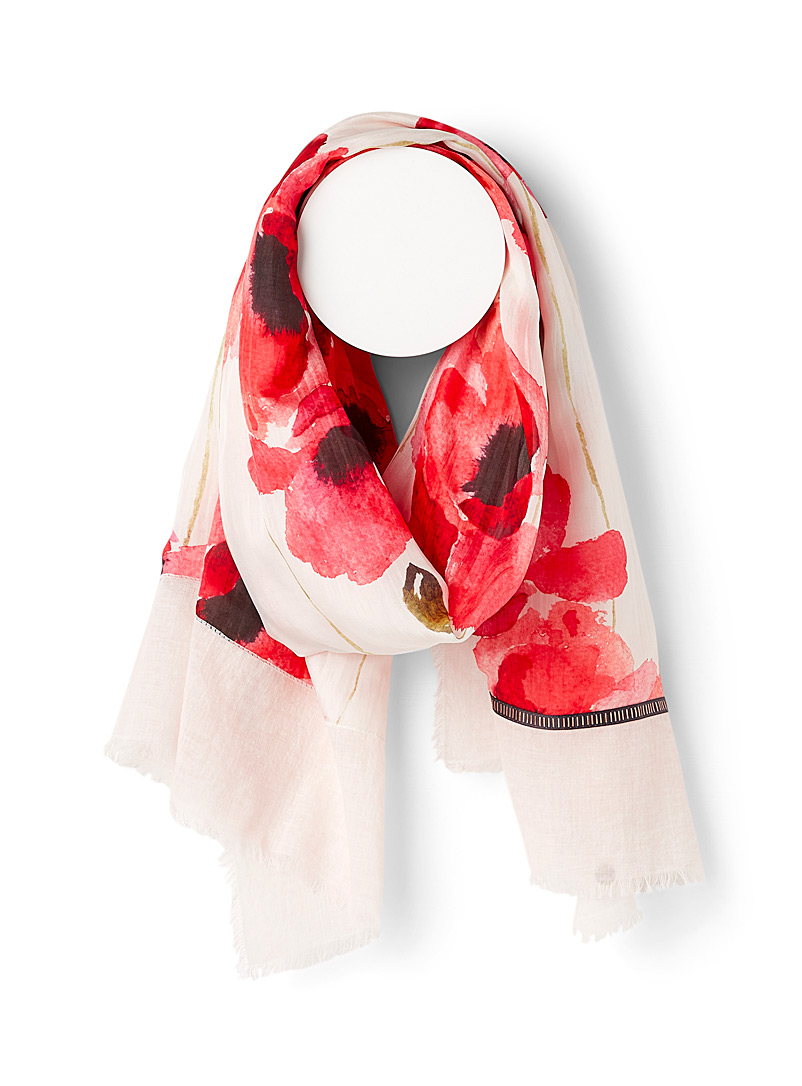Fraas Assorted red Watercolour poppy scarf for women