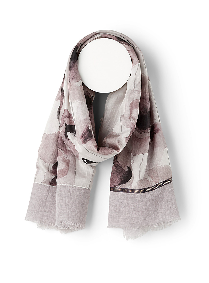 Fraas Assorted grey  Watercolour poppy scarf for women