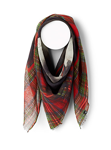 Fraas Patterned Red Check sculpture scarf for women