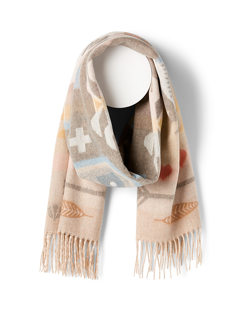 Fraas Patterned White Fall mosaic scarf for women