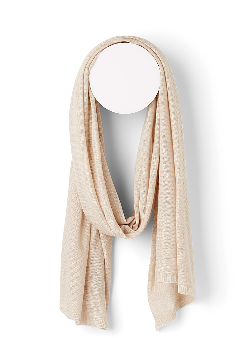 Simons Cream Beige Ultra-light knit scarf for women