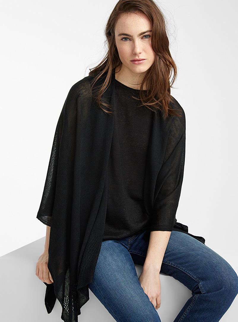 Simons Black Delicate openwork shawl for women