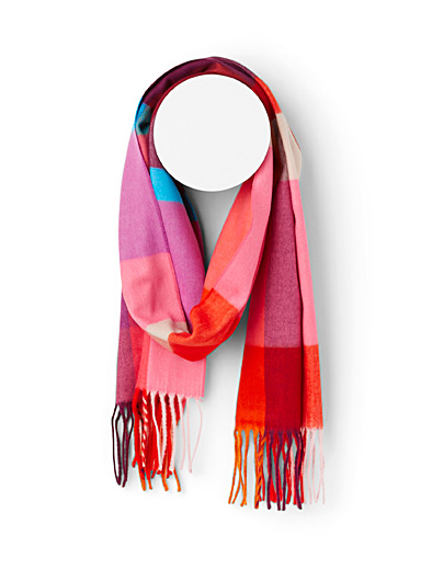 Simons Patterned Red Pink checked scarf for women