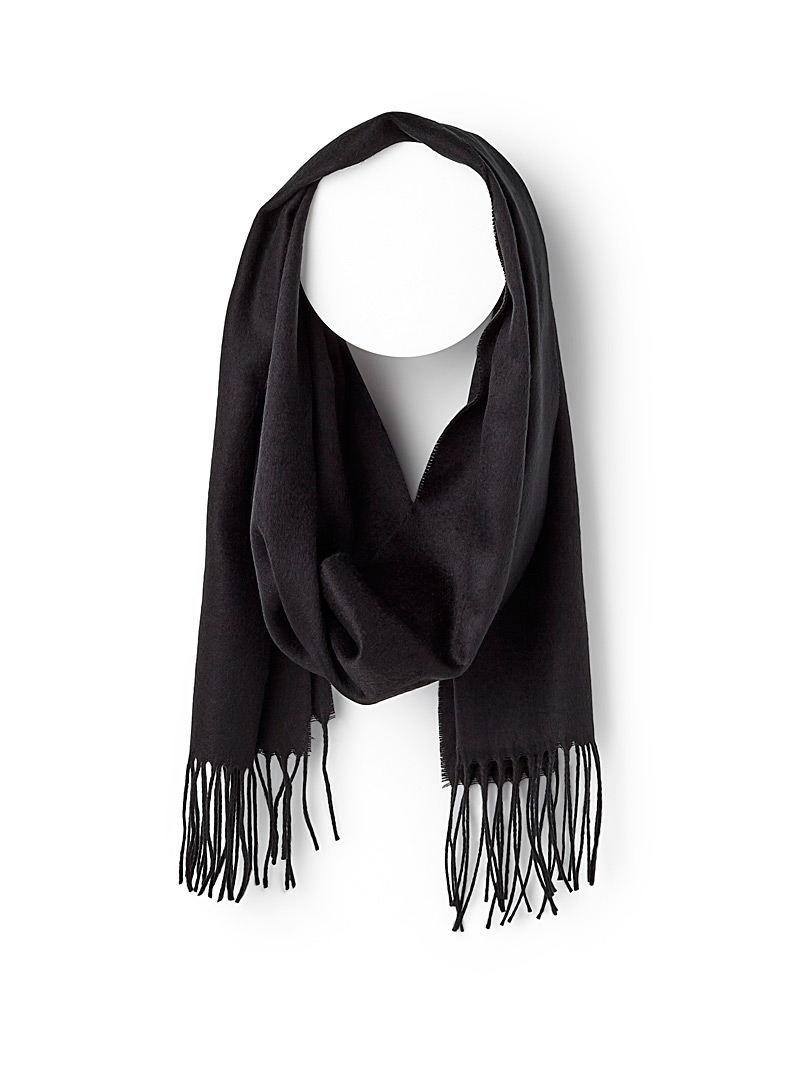 Monochrome fringed scarf - Winter Scarves - Black