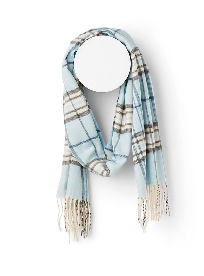 Simons Patterned Blue Sophisticated check scarf for women