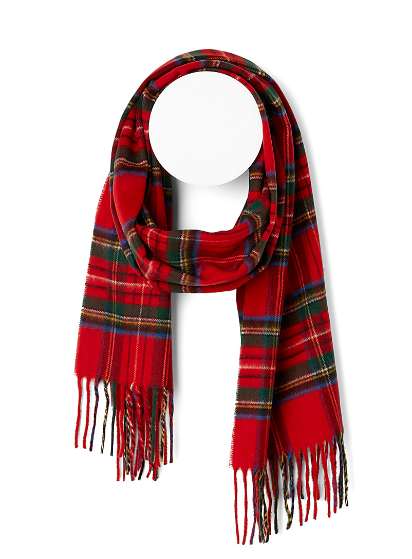 Simons Patterned Red Ultra-soft classic tartan scarf for women