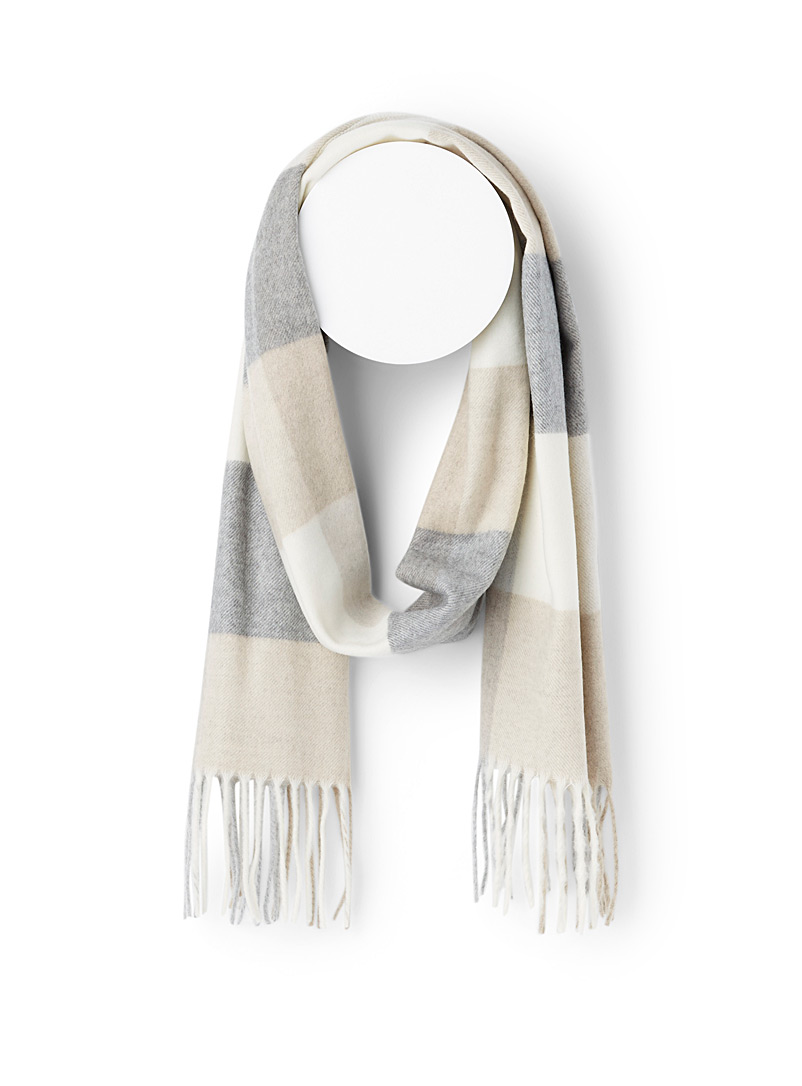 Simons Assorted white  Ultra soft check scarf for women