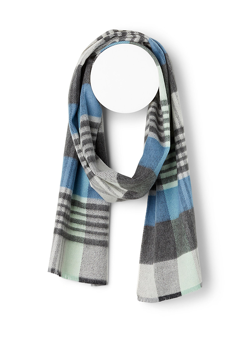 Simons Patterned Blue Pastel check scarf for women