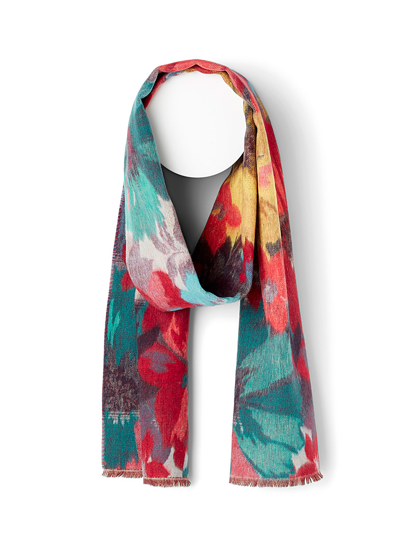 Simons Patterned Blue Rich floral scarf for women