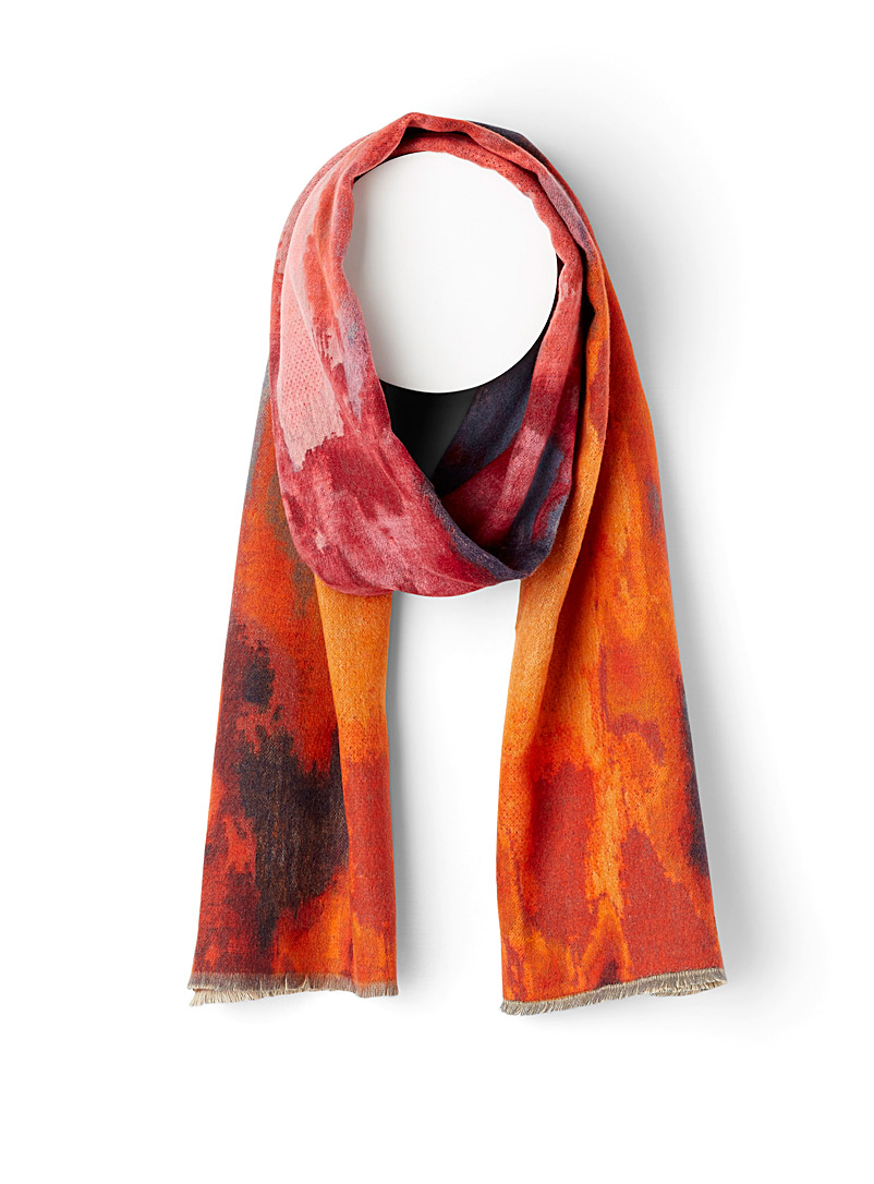 Simons Patterned Red Abstract flair scarf for women