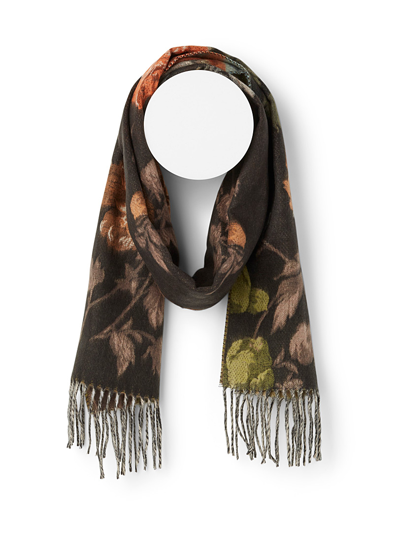 Simons Assorted grey  Baroque blossom scarf for women