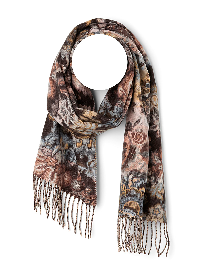 Simons Patterned Black Floral scarf for women