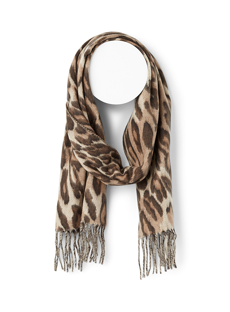 Simons Patterned Brown Feline pattern scarf for women