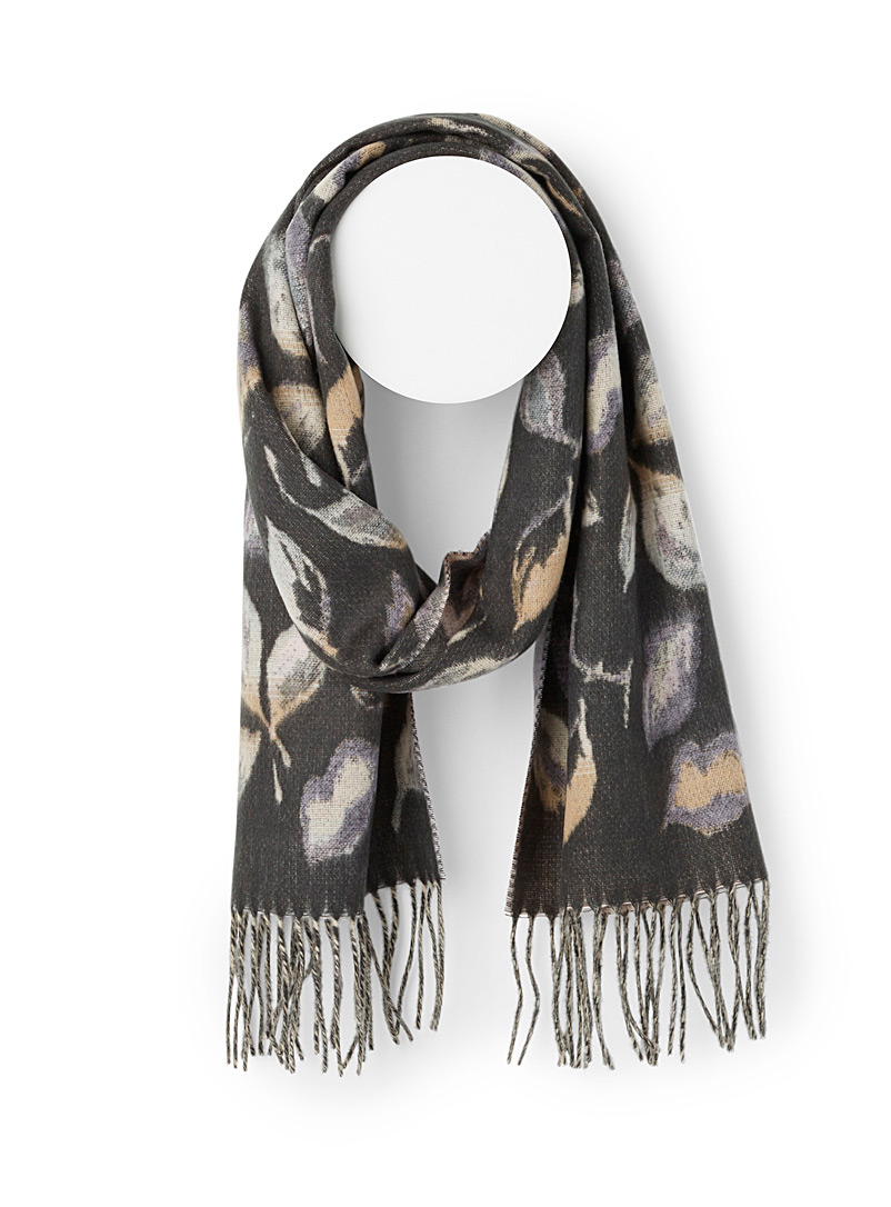 Simons Patterned Grey Autumn leaves scarf for women