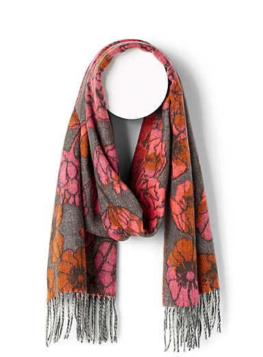 Fraas Patterned Red Floral sketch scarf for women