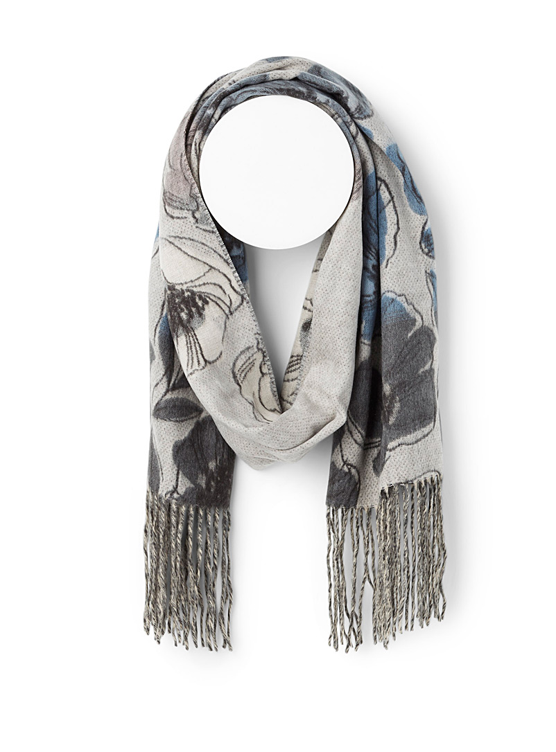 Simons Assorted grey  Opulent flowers scarf for women