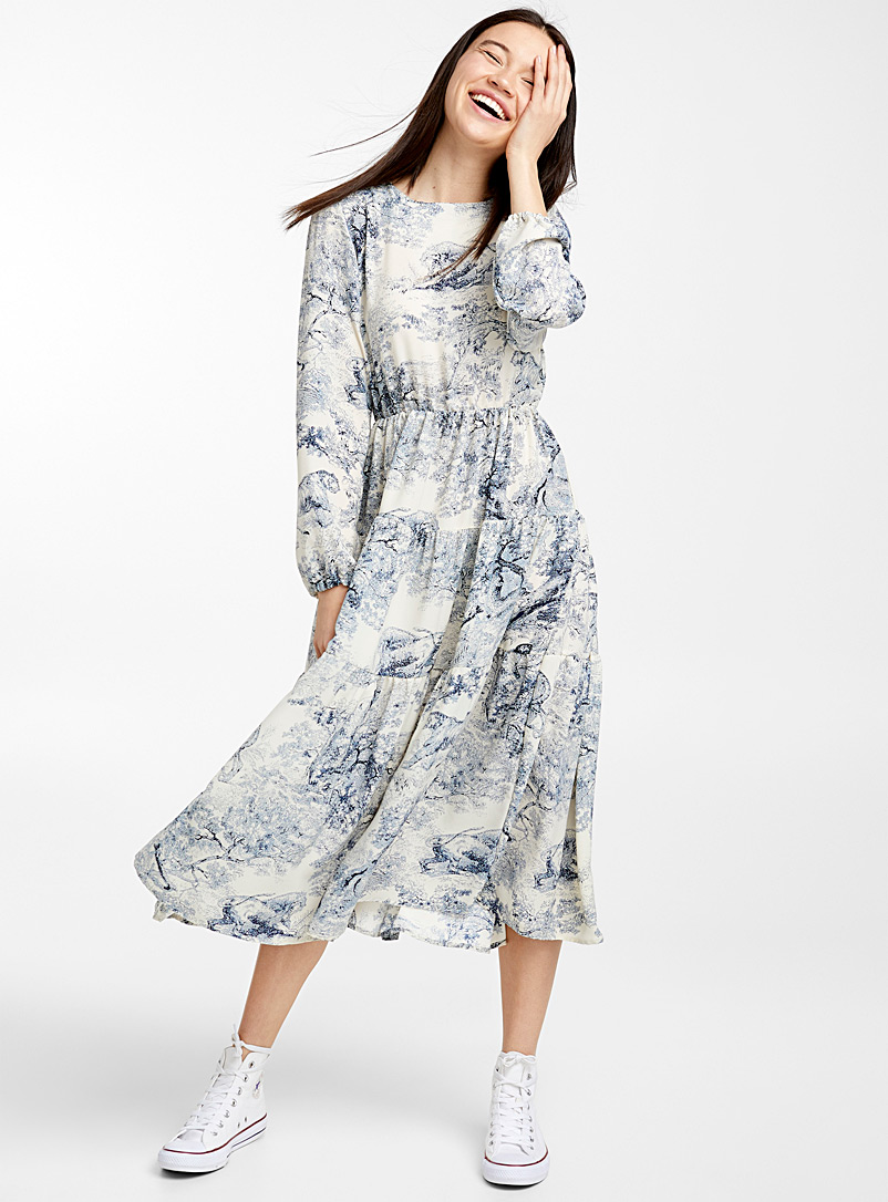 Toile de Jouy dress - Fit & Flare - Blue