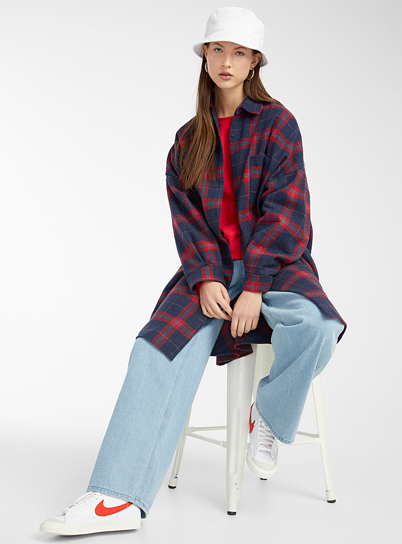 Twik Red Blue check flannel overshirt for women