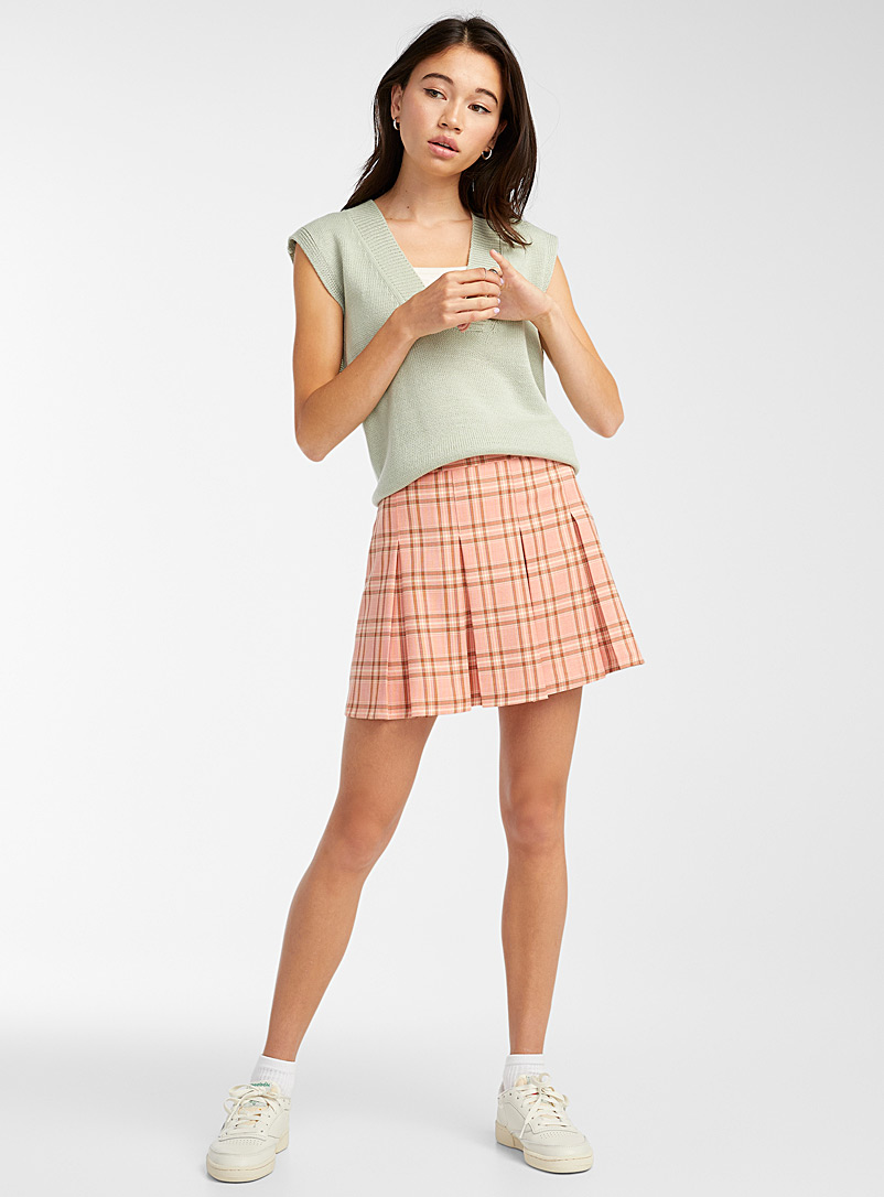 Pleated check miniskirt