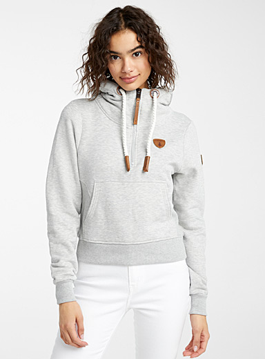 Wanakome Grey Half-zip crop hoodie for women