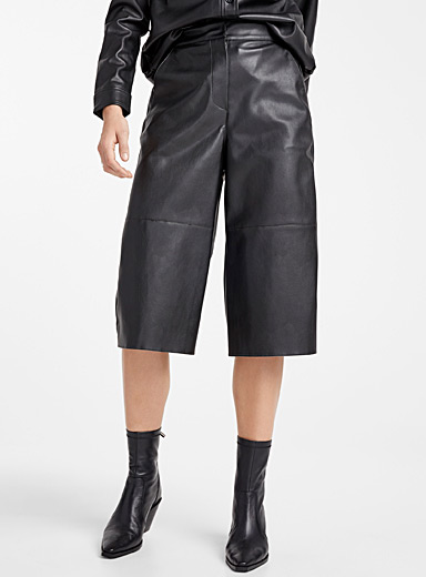 Faux-leather culottes