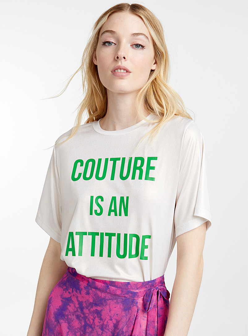 Shimmery couture message tee - Short Sleeves & ¾ Sleeves - Patterned White