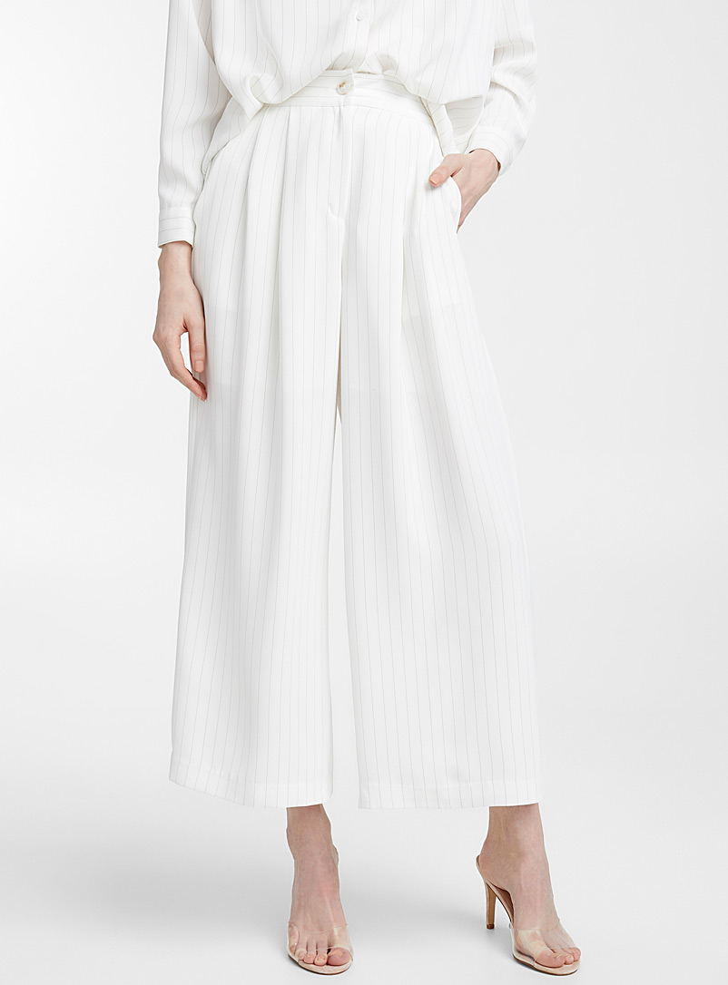 Ivory fine-stripe pant - Wide leg - Black and White