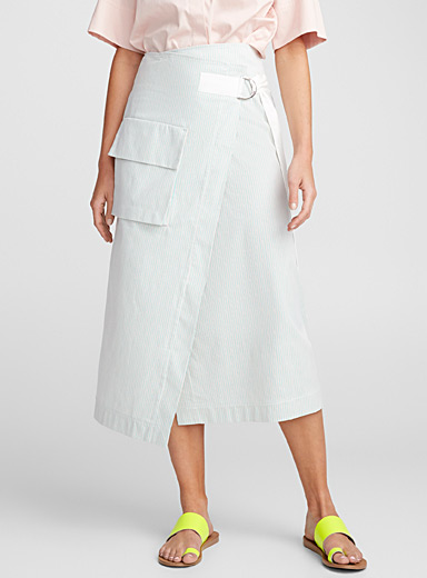 Micro stripe wrap skirt