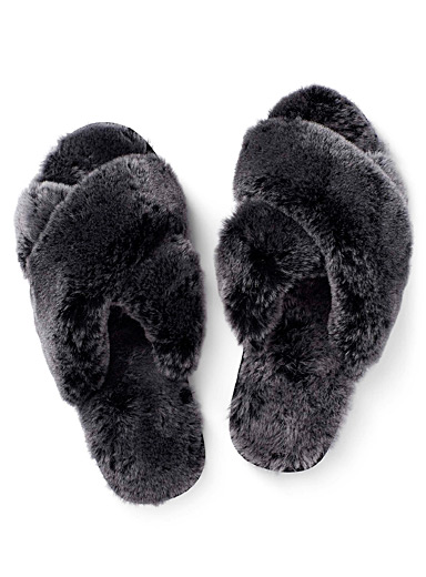 EMU Dark Grey Mayberry Frost slides for women