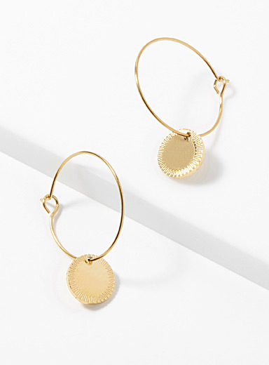 Golden medallion hoops