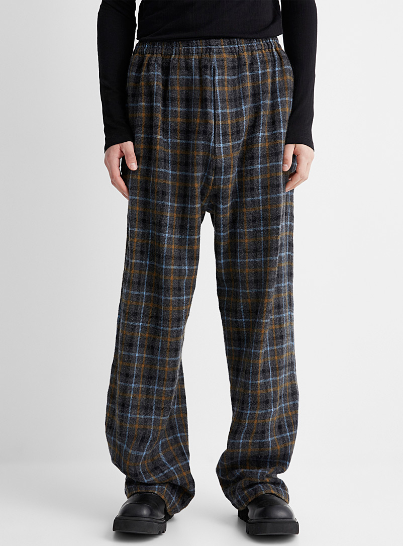 Undercover Grey Multi-check wool pant for men