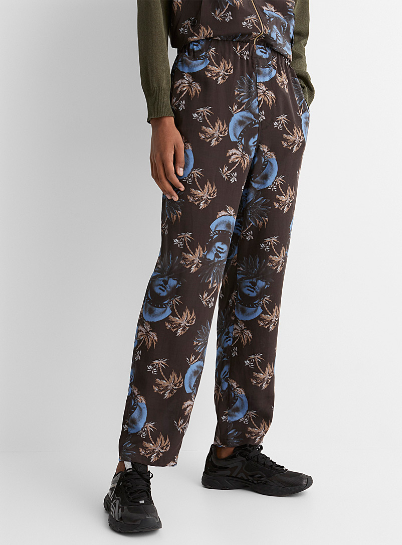 Undercover Black Neo-exotic pattern fluid pant for men