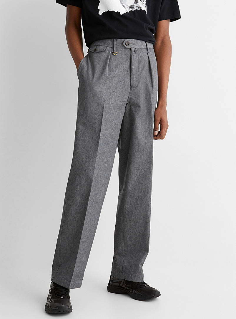 Undercover Charcoal Pleated grey-hued chinos for men