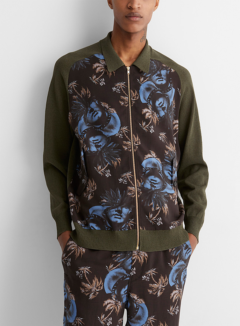 Undercover Black Neo-exotic pattern mixed media jacket for men