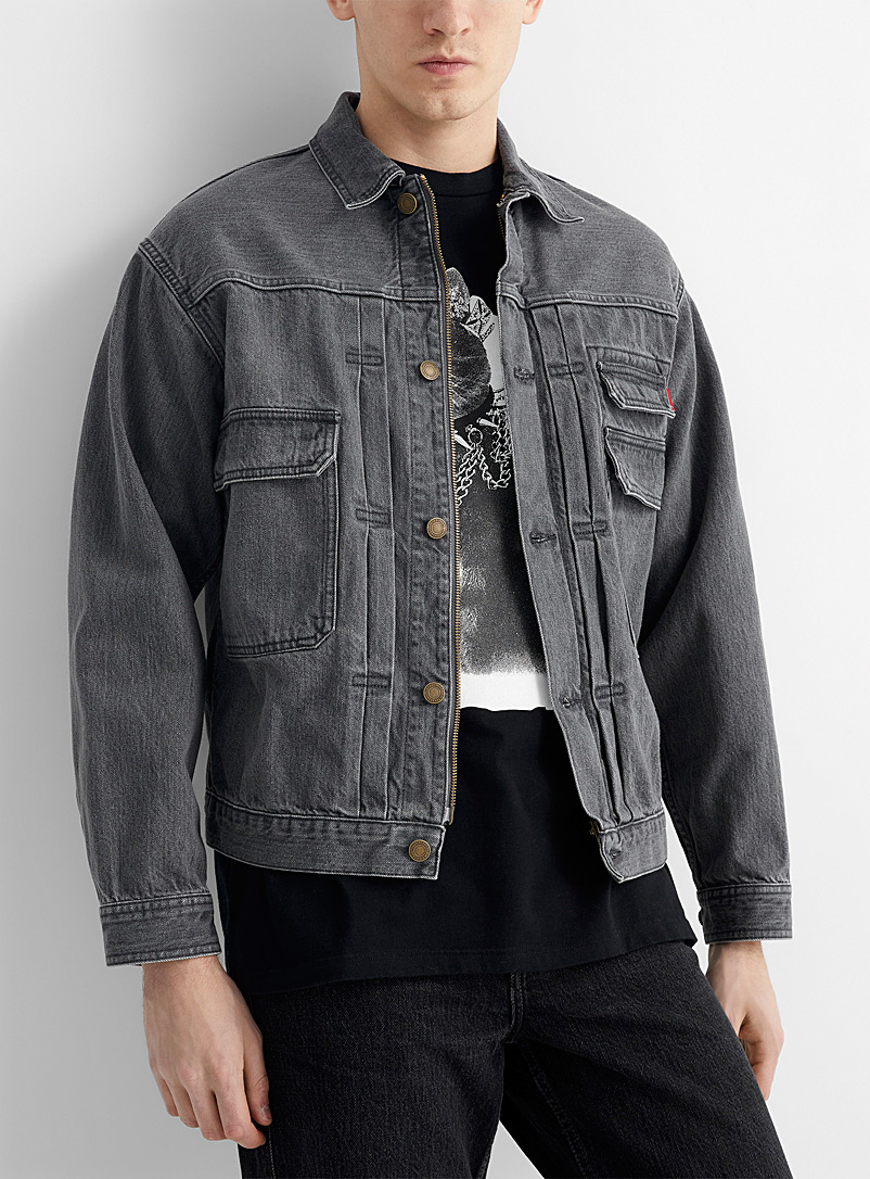 Undercover Grey Multi-pocket ash grey denim jacket for men