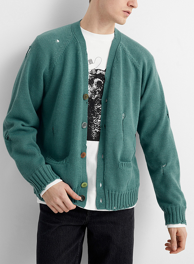Undercover Light Grey Worn detail grey-green cardigan for men